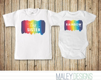 Rainbow Baby Announcement Set, Big Sister of a Rainbow Baby, Rainbow Baby Outift, Matching Sister Rainbow Outfits, Miracle Baby