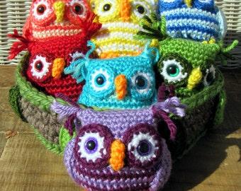 Rainbow Nesting Owls Crochet Amigurumi