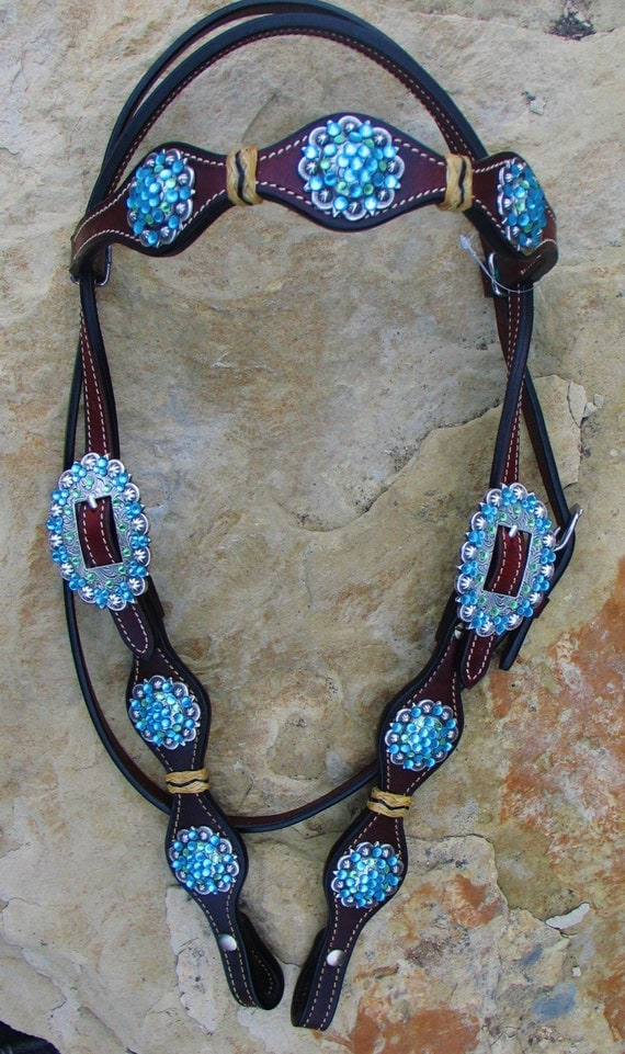 Western Tack Headstall With Turquoise Conchos