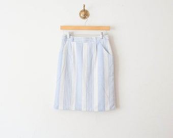 1960s vintage robins blue striped tube skirt
