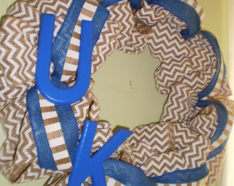 University of Kentucky Burlap Wreath, Kentucky Wildcats Wreath, Chevron Wreath, UK Wreath, Kentucky Wreath