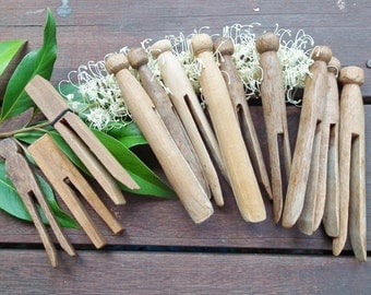 1 Dozen Vintage/Antique Handmade Rustic Wooden Clothes pegs / Clothes Pins 12 Genuine old Dolly pegs  & others used worn lovely patina