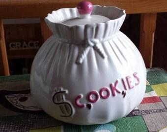 "Vintage Abingdon Cookie Jar ""Sack of Money"" 1940s  D206"