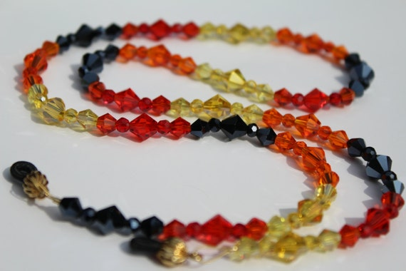 Holder for Glasses, Eyeglasses Jewelry, Fiery, Glass Beads Chain for Reading Glasses, Crystal Eyeglass Chain, Gift for Her