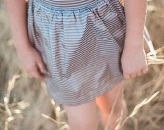 Girl Skirt, silk striped skirt, knee length skirt, dressy clothing, winter girl clothing, gathered skirt, size 2T, 3T, 4T, 5, 6, 7, 8