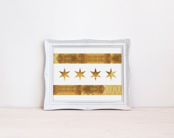 Chicago Flag Print, Gold Chicago Flag, Chicago Poster, Chicago Art Print, Gold Foil print, Gold Office Print, City Poster, Chicago Flag Art
