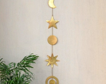 Brass Wall Hanging Celestial Wall decor Boho Mobile - Sun - Moon Phases - Star - Planet - Galaxy Wall decor - Hammered Metal Wall Art