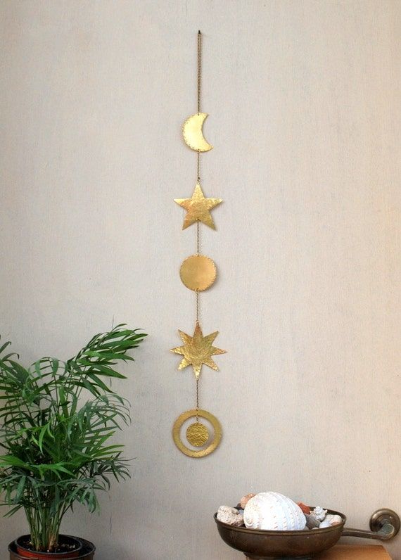 brass wall hanging celestial wall decor boho mobile sun. Black Bedroom Furniture Sets. Home Design Ideas