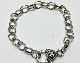 5 chain bracelet finding silver tone metal  #FIN 057