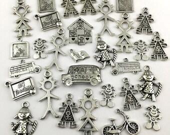 30 school children charms mix,silver tone #CH 544