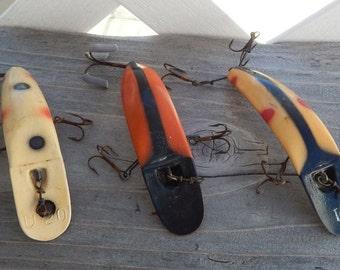 Vintage Helin Flatfish Fishing Lures Lot of 3 Lures T4 & U20 Tandem Hooks