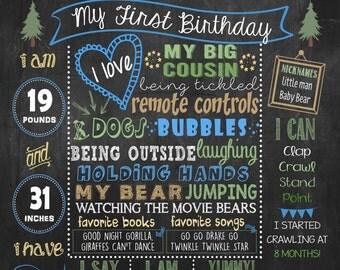 Bear First Birthday Chalkboard poster, Lumberjack, birthday poster DIGITAL FILE