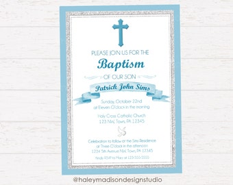 Baptism Invitation, Silver and Blue, Boy Baptism Invitation DIGITAL FILE
