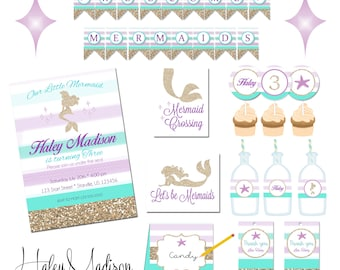 Mermaid Party Personalized Party Package, DIY DIGITAL FILES