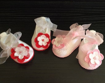 Crochet Baby shoes -Baby girl Booties - Ballet Slippers - Flower Shoes -Mary Jane baby shoes -  rose or red flower ballet style.