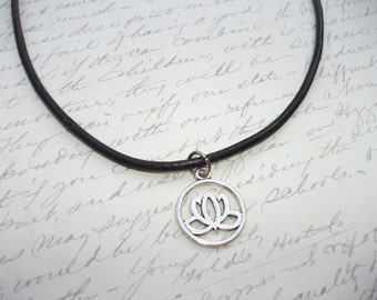 Lotus flower leather necklace