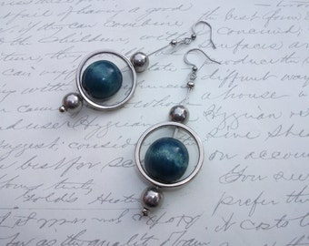 Blue wood earrings in silver circles