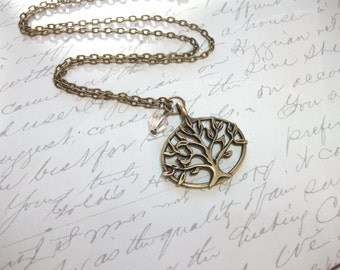 Tree of life antique bronze necklace with crystal
