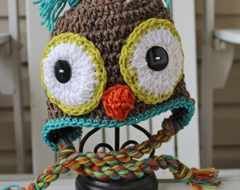 Owl Hat, Crochet Owl Hat, Kids Hats, Boy Owl Hats, Animal Hats, Owl Beanie, Baby Hats, Baby Beanies, Kids Beanies, Infant Hat