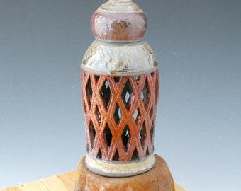 Ceramic Candle Holder #4, Clay Raku Lantern, Architectural Lantern