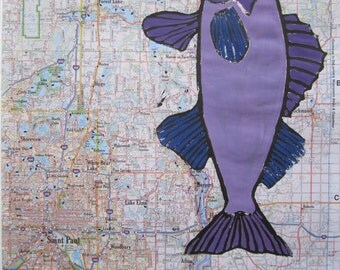 Walleye Fish Print, St. Paul Minnesota Map, Walleye Print on Minnesota Map