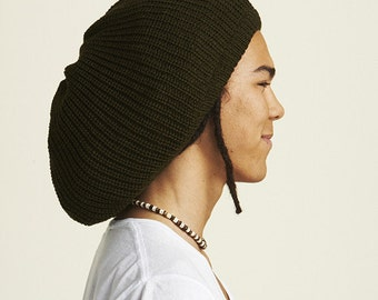 Slouchy beanie hat in army green M (MD-1013)