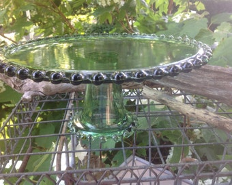 Vintage Cake Stand - Pressed Glass, Beaded Edge, Emerald Green - Imperial Glass Candlewick