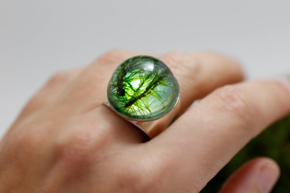 Moss ring Forest: green real moss lichen pendant resin nature inspired unique forest woodland botanical