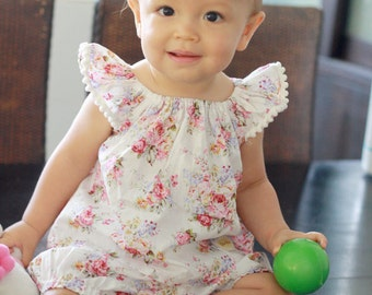 Pink Rose baby clothes set, floral top and bloomer, baby girl clothes,shabby chic baby clothes