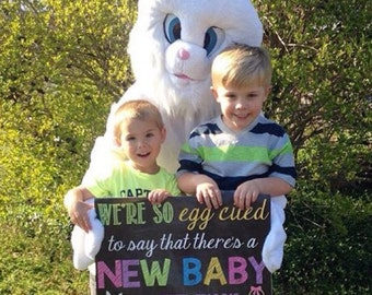 Eggcited Easter Pregnancy Announcement Egg cited Pregnancy Reveal Pregnant Easter Pregnancy 16x20