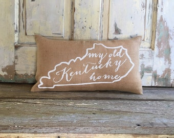 Pillow Cover | My Old Kentucky Home pillow | Burlap pillow | Kentucky pillow | University of Kentucky | Graduation Gift | Mother's Day Gift