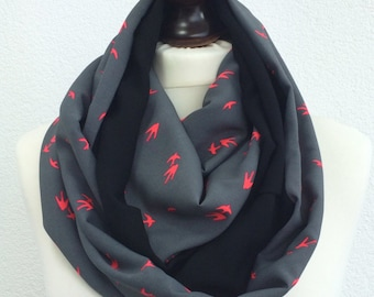 Bird Scarf, Circle Swallow Scarf, Gray Black Foulard, Neon Birds Scarf, Two Sided Scarf, Infinity Scarf, Mothers Day Gift, Animal Loop Scarf