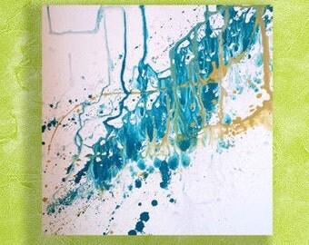 Original Splashed Blue River Abstract Painting Splatter Art Original Modern Art by ChantelKeiko 24x24