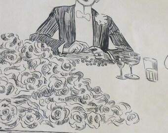 Original 1903 Charles Dana Gibson 1867-1944 Signed Pen & Ink Illustration Making Bread Pills - Framed