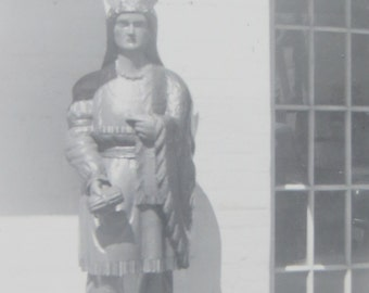 Trading Post Indian - 1940's Cigar Store Indian Snapshot Photo - Free Shipping
