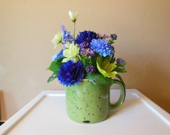 Coffee Mug-Floral Arrangement-Gift for Her-Just Because-Friend-Thinking of You-Birthday-Anniversary-Co Worker-Get Well-Green-Purple-Cheer