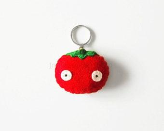Felt tomato keychain, cute veggie, pretend veggie keychain, summer bags accessory, funny gift idea, tomato mini plush, pretend vegetable