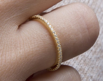 Diamond eternity band, Micro pave ring , All around diamond band, Thin diamond ring ,Eternity band, Diamond ring, Stackable gold band