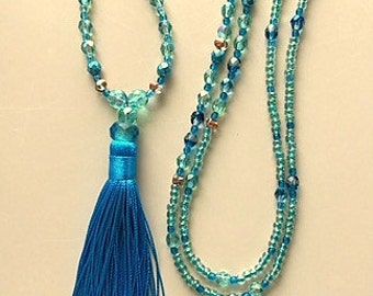 Very Long Turquoise and Blues Swarovski Crystal Tassel Necklace