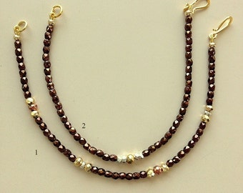Minimalist Brown Fire Polished Beads With Fine Silver, Gold and Copper Clad Nuggets - Single or Bracelet Set