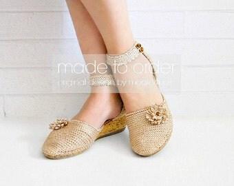 Eleni's wedge sandals VERSION 2 - women crochet sandals, made to order, crochet sandals with soles, street sandals, wedges