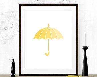 Yellow Umbrella Print, Umbrella Printable, Umbrella Wall Art, Yellow Art Print, Nursery Printable, Printable Art,  Yellow Nursery Print