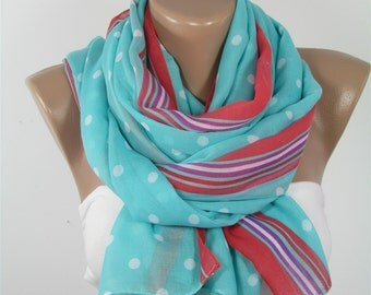 Polka Dots Scarf Cotton Scarf Striped Mint Scarf Shawl Infinity Scarf Spring Fall Winter Women Fashion Accessories Christmas Gift For Her