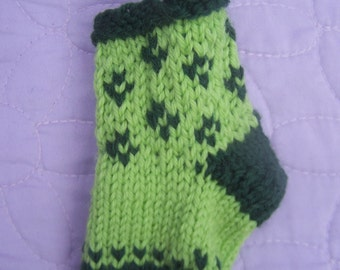 Handknit mini stocking, Flower mini stocking, Green stocking, Stocking decoration, Stocking gift bag, Stocking ornament, Patterned stocking