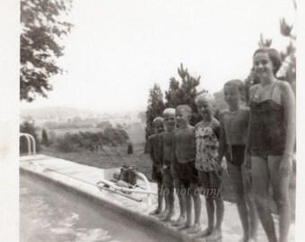 Vintage Snapshot Photo ~ pool kids