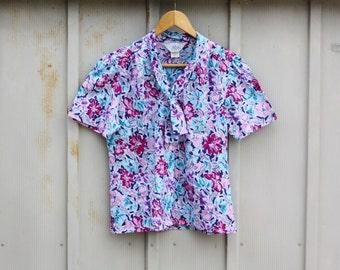 Retro Floral Blouse - Vintage Ascot Top - Neck Tie Blouse - Romantic Blouse - Secretary Blouse - Button Down Shirt - Mod Top - 70s Blouse