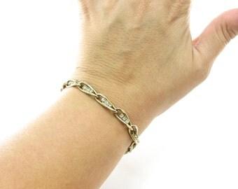Vintage Rhinestone Link Bracelet, Gold Tone