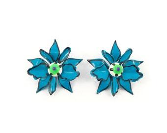 Vintage Blue Flower Earrings, Enamel, Glass Centers, Posts