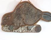 Vintage Victoria Littlejohn Beaver Trivet, Ceramic, Pottery, Oregon, Birchwood, Animal on a Log, Wall Art, Ceramic Hot Plate, (WTH-780)