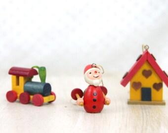 Vintage German Ornaments, Train, Gingerbread House, Santa Ski Poles, Christmas Ornament, Tree Trimming, Holiday Decor, Handmade WTH-765